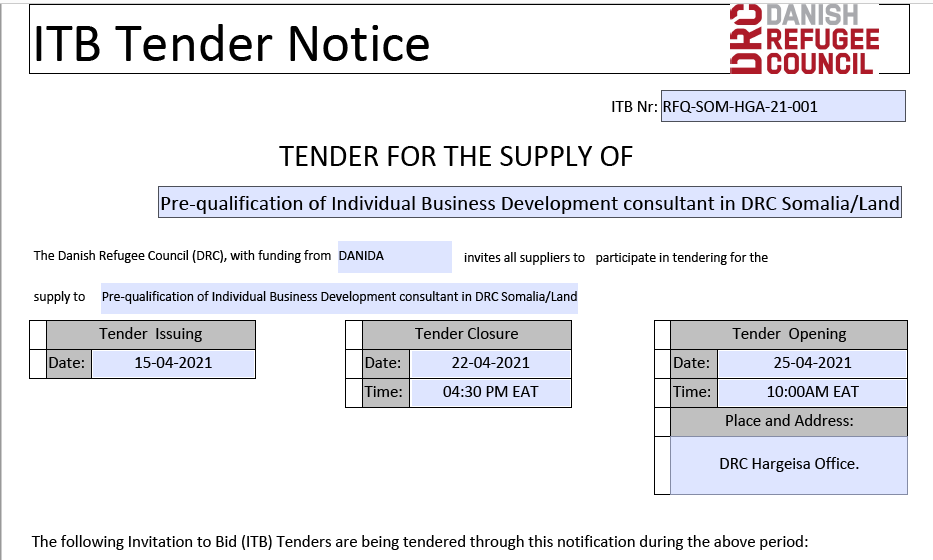 Pre-qualification of Individual Business  Development Consultant DRC Somalia/Land