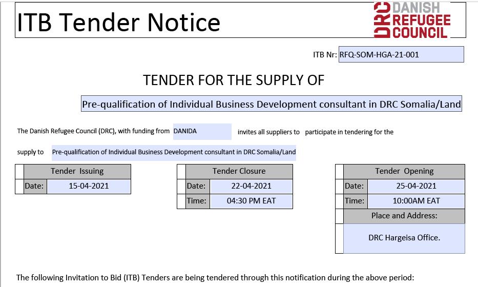 Pre-qualification of Individual Business  Development Consultant DRC Somalia/Land